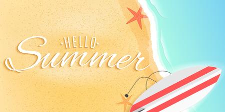 Hello summer web banner. Surfboard on the beach. Starfish and tide sea. Seasonal cover. Vector illustration. EPS 10.