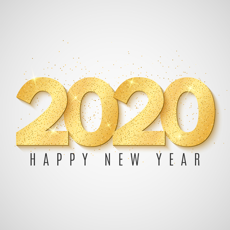 2020 Happy New year greeting card. Golden confetti. Brilliant glitter on a light background. Vector illustration. EPS 10.