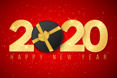 2020 Happy New year greeting card. Golden confetti and gift box on red background. Brilliant glitter on a light background. Vector illustration. EPS 10. Illustration
