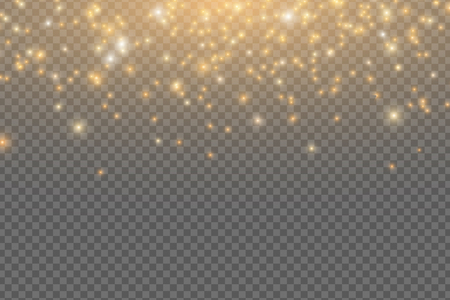 Abstract falling golden lights. Magical golden dust and glare isolated on transparent background. Festive Christmas lights. Golden rain. Vector illustration EPS 10