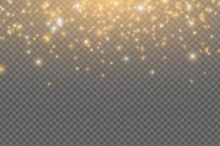Abstract falling golden lights. Magical golden dust and glare isolated on transparent background. Festive Christmas lights. Golden rain. Vector illustration EPS 10