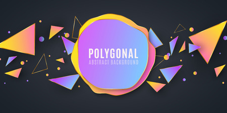 Abstract geometric shapes. Banner for your design. Liquid design. Chaotic triangles. Polygonal shapes background. Low poly. Vector illustration EPS 10 Stock Vector - 124528206