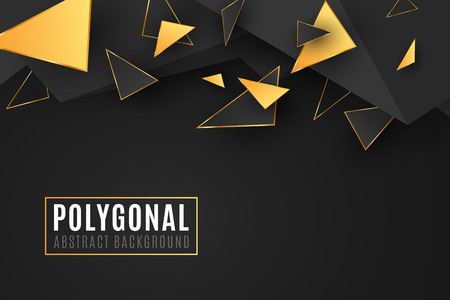 Abstract geometric shapes. Stylish cover for your design. Low poly style. Chaotic forms. Abstract black and gold triangles. Polygonal shapes background. Vector illustration EPS 10