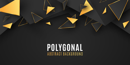 Abstract geometric shapes. Stylish background for your design. Low poly style. Chaotic forms. Abstract black and gold triangles. Polygonal shapes template. Vector illustration EPS 10 Stock Vector - 124528253