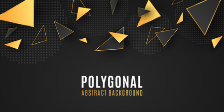 Abstract geometric shapes. Stylish background for your design. Modern low poly style. Chaotic forms. Black and gold triangles. Polygonal shapes template. Vector illustration EPS 10