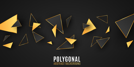 Abstract geometric shapes. Stylish background for your design. Modern low poly style. Chaotic forms. Black and gold triangles. Polygonal shapes. Vector illustration EPS 10 Stock Vector - 124528255