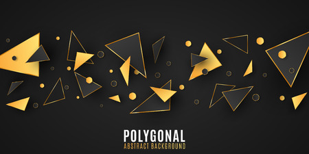 Abstract geometric shapes. Stylish background for your design. Modern low poly style. Chaotic forms. Black and gold triangles. Polygonal random shapes. Vector illustration EPS 10 Illustration