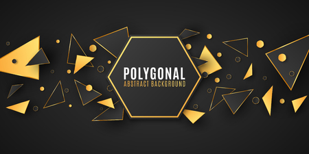 Abstract geometric shapes. Stylish banner for your design. Modern low poly style. Chaotic forms. Black and gold triangles. Polygonal random shapes. Vector illustration EPS 10 Stock Vector - 124528258