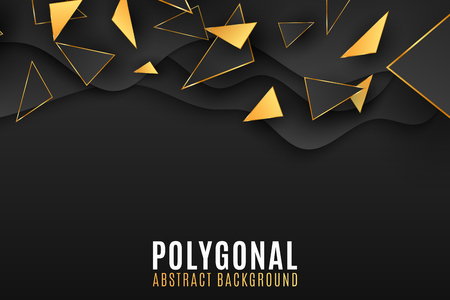 Geometric shapes background. Stylish cover for your design. Low poly style. Black and gold triangles. Fluid design. Polygonal shapes. Vector illustration EPS 10 Illustration
