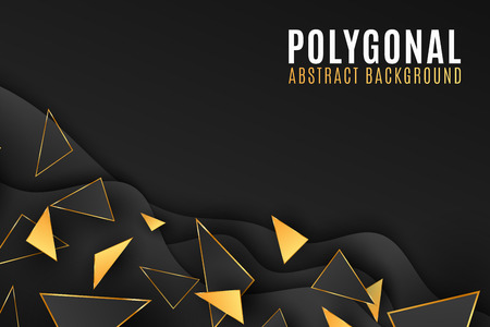 Abstract geometric shapes background. Stylish cover for your design. Low poly style. Black and gold triangles. Fluid design. Polygonal shapes. Vector illustration EPS 10