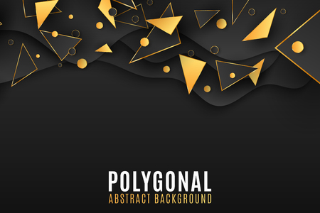 Stylish geometric background for your design. Low poly. Black and gold triangles and circles. Fluid design. Random polygonal shapes. Vector illustration EPS 10 Illustration