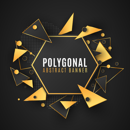 Modern polygonal banner of geometric shapes. Low poly style. Random triangular forms. Black and gold triangles. Circles from dots. Vector illustration EPS 10
