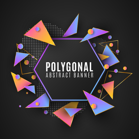 Modern polygonal banner of geometric shapes. Low poly style. Random triangular forms. Multicolored triangles. Web design. Circles from dots. Vector illustration EPS 10