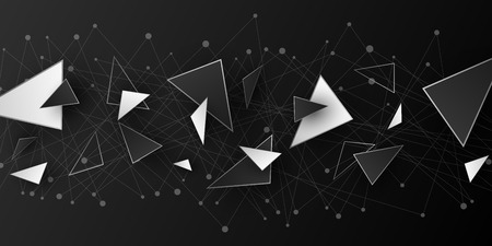 Polygonal geometric shapes. Modern background for your design. Low poly. Random black and white triangular forms. Connected lines and dots. Plexus. Vector illustration EPS 10 Illustration