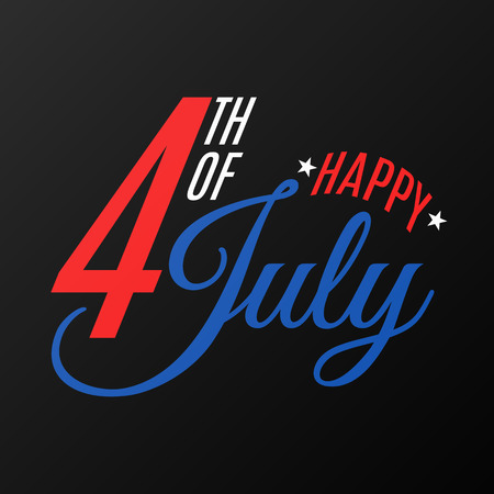 Happy Independence Day. Festive flat text banner on a black background. Gift card for 4th of July. United States of America. Vector illustration EPS 10 Illustration