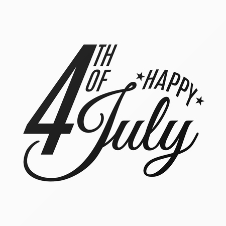 Happy Independence Day. Festive flat and black text banner on a white background. 4th of July. United States of America. Vector illustration EPS 10