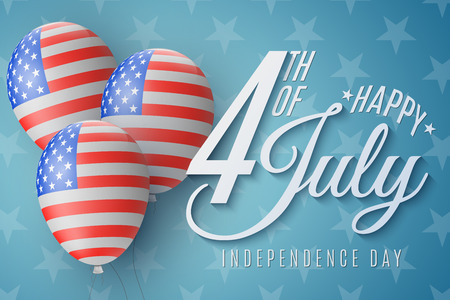 Happy Independence Day brochure. 4th of July. United States of America flag pattern. Realistic flying balloons with beautiful lettering. Vector illustration EPS 10