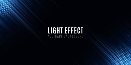Light effect of blue abstract random neon lines. Template for your design. Motion blur effect. Futuristic blurred neon lines on black background. Vector illustration.