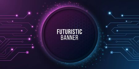 Futuristic banner with computer circuit. Modern tech design. Blue and purple glowing neon honeycombs with flying glowing dust. Vector illustration. Vetores