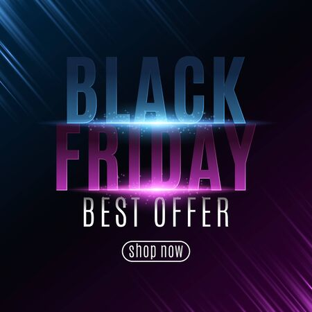 Poster for Black Friday sale. Glowing neon text with flying paticles. Modern design for your business project. Purple and blue rays. Vector illustration. Illustration