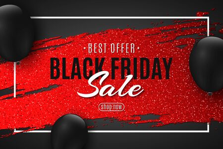 Abstract web banner for Black Friday sale. Red grunge brush with glitters and black balloons. Design for your business. Vector illustration.