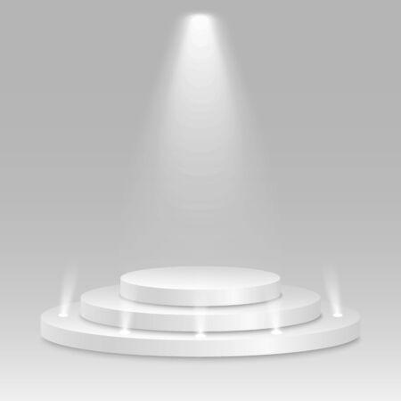 Prize place. Isolated 3D empty white podium on gray background. Luminous spotlight. Vector illustration. Иллюстрация