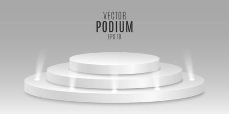 Prize place. Isolated 3D empty white podium on gray background. Small light bulbs. Vector illustration. Иллюстрация