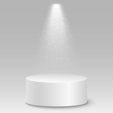 Isolated 3D empty white podium on gray background. Glowing projector. Vector illustration.