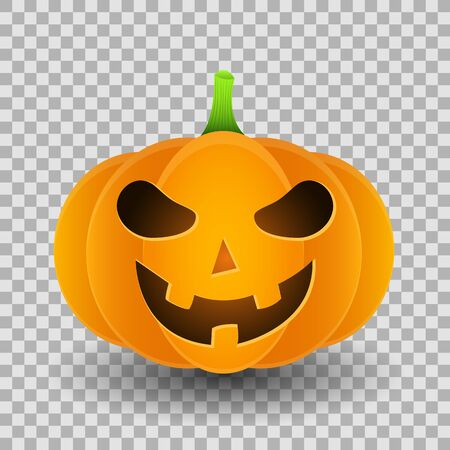 Smiling angry cartoon pumpkin for halloween isolated on a transparent background. Vector illustration. Иллюстрация