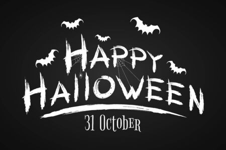 Festive text banner for Happy Halloween. Horrible grunge calligraphy with bats and spiders on a dark background. Vector illustration