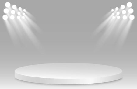 Empty pedestal with spotlight. Prize place. Isolated 3D empty white podium on a gray background. Vector illustration. Иллюстрация