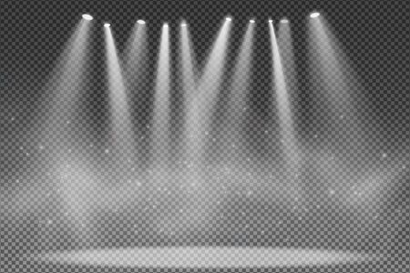 Spotlights isolated on transparent background. Floodlight for the podium. Light effect for a disco. Smoke with glowing particles. Grand show. Vector illustration.  イラスト・ベクター素材