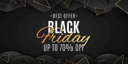 Geometric design for Black Friday. Wave and polygonal shapes. Grand sale. Golden and black triangles. Banner in liquid style for your business project. Vector illustration. 向量圖像