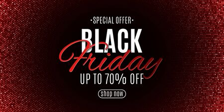 Black friday banner. Halftone pattern and stylish lettering. Red glitter. Grand seasonal sale. Poster for your design. Vector illustration.