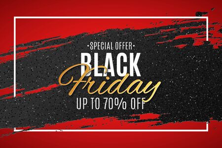 Black friday banner. Grunge brush with glitter and Stylish lettering. Grand seasonal sale. Poster for your design. Vector illustration.