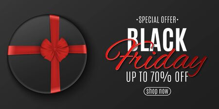 Black friday poster. Dark box with red ribbon. Stylish lettering. Grand seasonal sale. Banner for your design. Vector illustration.