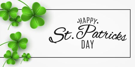 Banner for Saint Patricks Day. Realistic green clovers and stylish letternig in frame. Club and DJ name. Vector illustration.