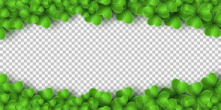 Banner for Saint Patricks Day. Realistic green clovers isolated on transparent background. Vector illustration.