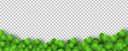 Realistic green clovers isolated on transparent background. Saint Patricks Day. Vector illustration. Ilustracja