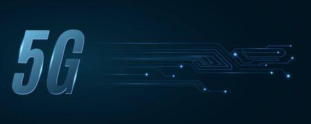 5G network. High tech circuit board. Modern technology design. Vector Illustration.