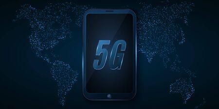 5G global network. High tech design. Modern smartphone with high speed internet. Map of glowing dots. Vector Illustration. Illusztráció