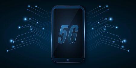 5G global network. High tech design. Modern smartphone with high speed internet. Neon computer circuit board. Vector Illustration.