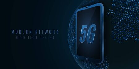 5G global network. High tech design. Modern smartphone with high speed internet. Planet globe and map from glowing dots. Vector Illustration.