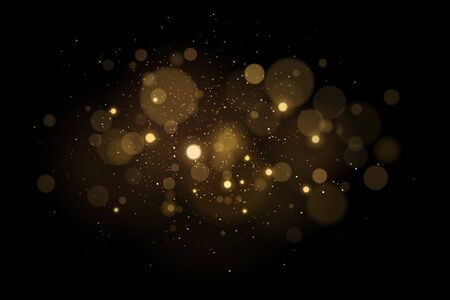Abstract magical light effect with golden glares bokeh on a black background. Christmas lights. Glowing flying dust. Vector illustration.