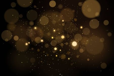 Abstract glares bokeh effect with glitters on a black background. Christmas lights. Vector illustration.