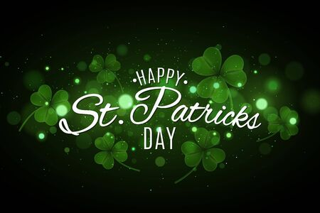 Saint Patricks day cover. Green glowing clovers with glares bokeh. Festive lettering for your design. Abstract glitter. Vector illustration. EPS 10