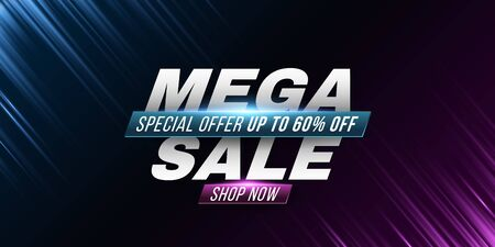 Mega sale poster. Cover for your ad design. Abstract purple and blue rays. Light effect. Vector illustration. EPS 10 Illustration