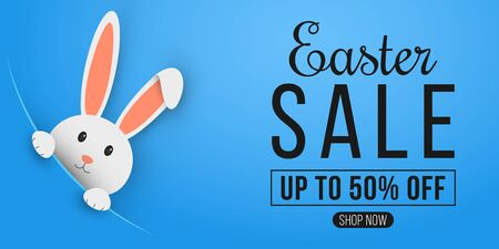 Easter web banner for sale. Template for your project. Cartoon cute bunny looking out of a cut hole. Vector illustration. Illusztráció