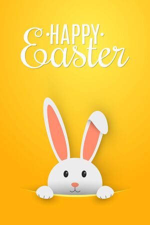 Easter flyer. Template for your project. Cartoon cute bunny looking out of a cut hole. Vector illustration. EPS 10