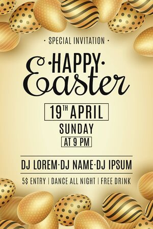 Easter party flyer. Scattered golden eggs with a pattern. DJ and club name. Invitation greeting card. Egg hunt event. Vector illustration. Illustration